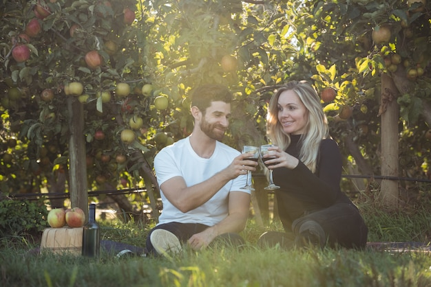Couple toasting glasses of wine in apple orchard Free Photo