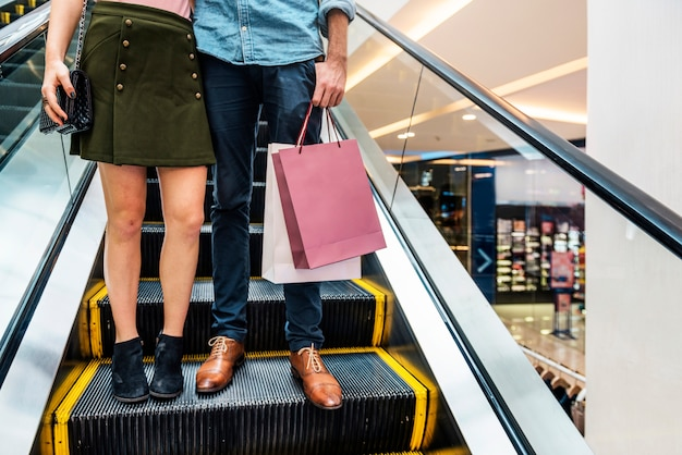 Couple together shopping customer concept Premium Photo