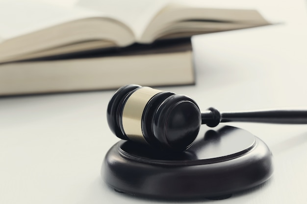 Court hammer and books. judgment and law concept Free Photo