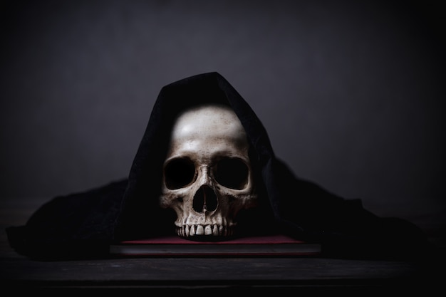Covered human skull posed on a desk Premium Photo