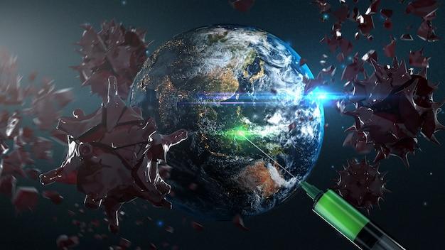地球がヴァクニーを手に入れ、コロナウイルスを破壊するcovid-19 3dレンダリングアート。 nasaから提供されたこの画像の要素 Premium写真