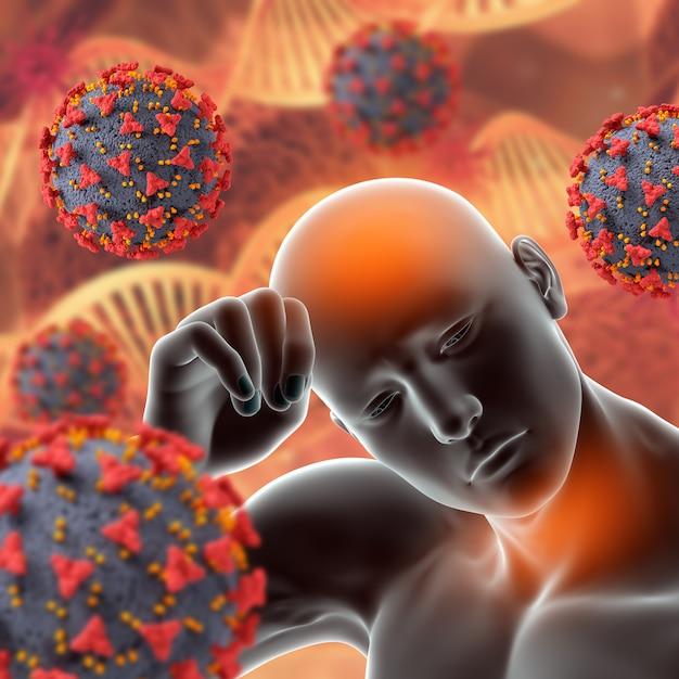 Covid 19ウイルス細胞の3d医療背景と発熱と喉の痛みの男性像 無料写真