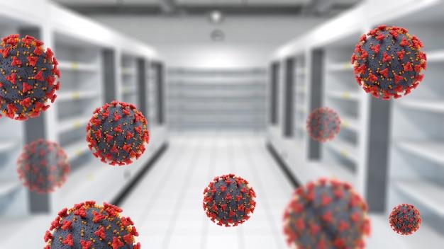 空の棚とcovid-19ウイルス細胞があるスーパーマーケットの3dインテリア 無料写真