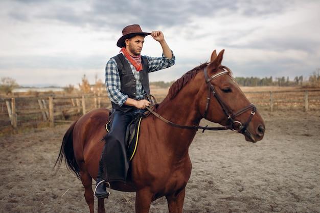 Ковбой верхом на лошади в стране техас Premium Фотографии