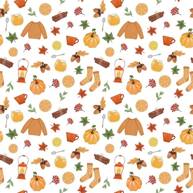 居心地の良い秋の気分のシームレスなパターン Premium写真