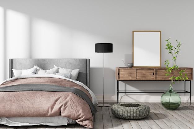 흰 벽, 꽃병 및 녹색 식물 3d 렌더링 따뜻한 색상의 아늑한 침실 프리미엄 사진