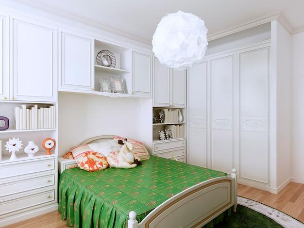 Cozy classic bedroom design for children. Premium Photo