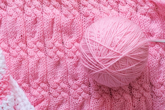 Cozy knitted, thread and needles. top view Free Photo