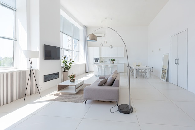 Premium Photo Cozy Luxury Modern Interior Design Of A Studio Apartment In Extra White Colors With Fashionable Expensive Furniture In A Minimalist Style