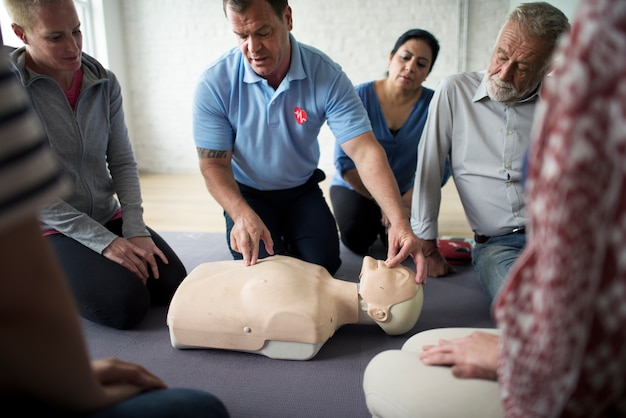 Cpr first aid training concept Premium Photo