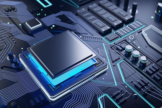 Cpu and computer chip background Premium Photo