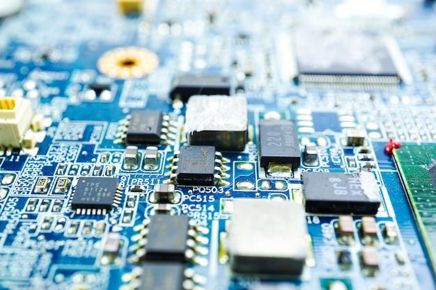 コンピュータ回路cpuチップメインボードコアプロセッサエレクトロニクスデバイス。 Premium写真