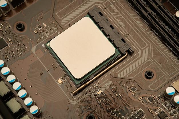 コンピューターサーバー半導体プロセッサcpuコンセプト青い回路基板の質感と技術の背景 Premium写真