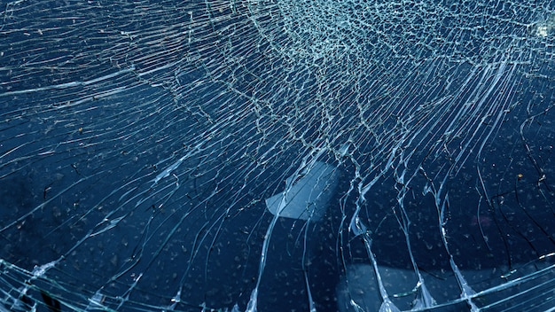 Cracked glass from car crash accidental w Premium Photo
