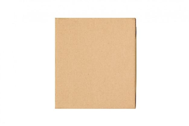 Craft brown square gift box isolate on white Premium Photo