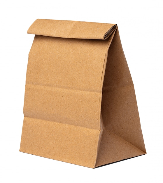 Бумажный пакет для еды на белом фоне Premium Фотографии