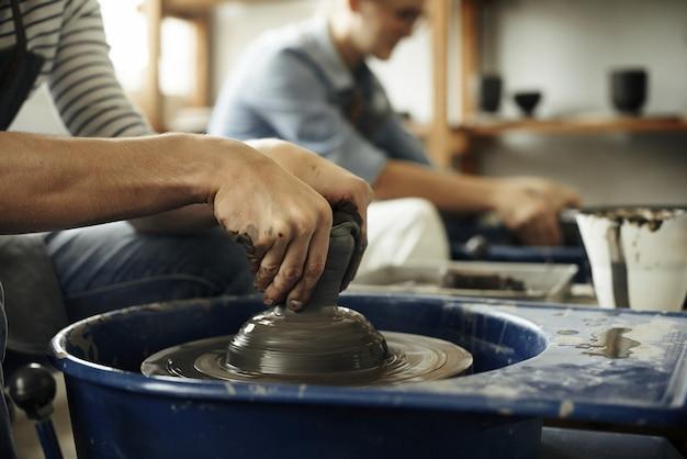 Craftsman artist pottery skill workshop concept Premium Photo