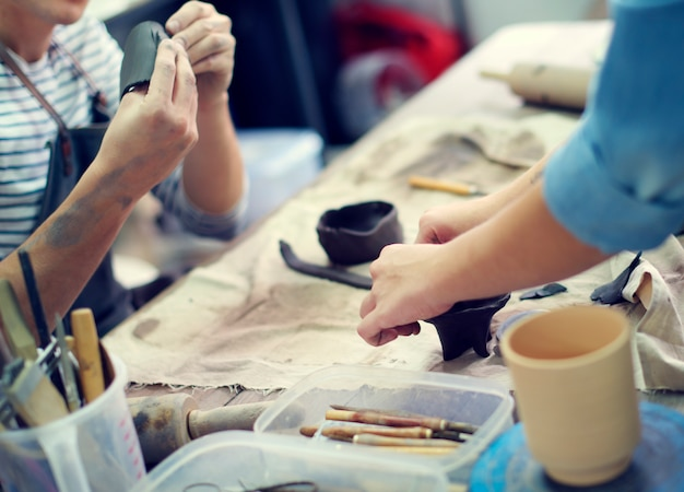Craftsman clay pottery creativity concept Premium Photo