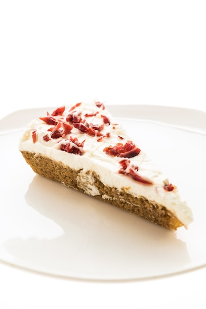 Cranberries pie or cake in white plate Free Photo