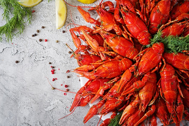 Crayfish. red boiled craw fishes on table in rustic style, closeup. lobster closeup. border design Free Photo