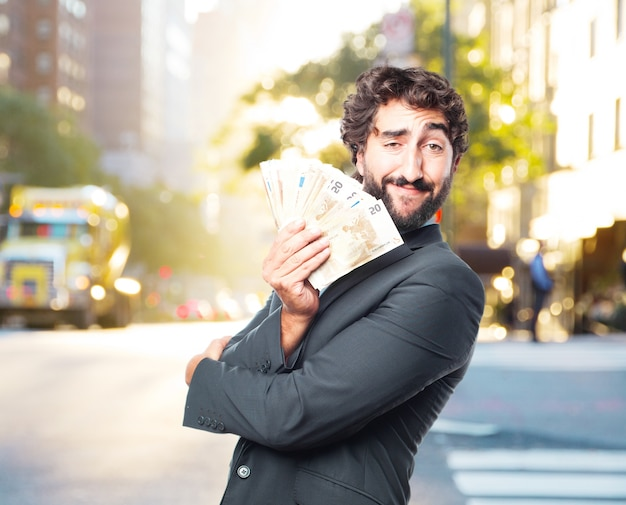 Crazy businessman happy expression Free Photo