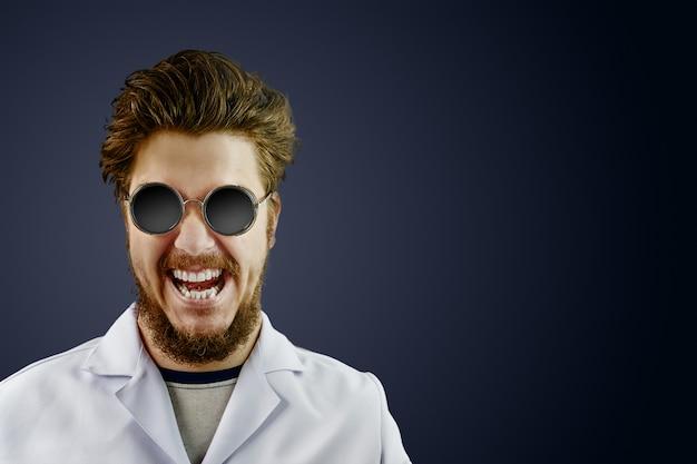 Crazy doctor in white coat and black round sunglasses on dark scare background Premium Photo