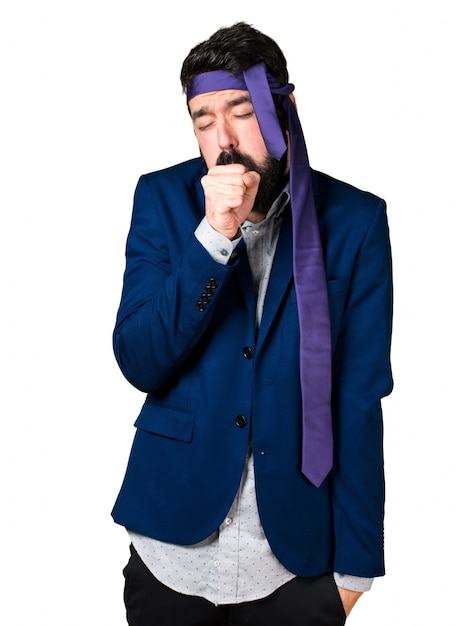 Crazy and drunk businessman coughing a lot Free Photo
