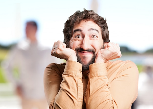 Crazy man.funny expression Free Photo