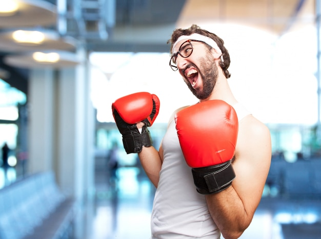 Crazy sports man angry expression Free Photo