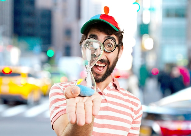 Crazy young man surprised expression Free Photo