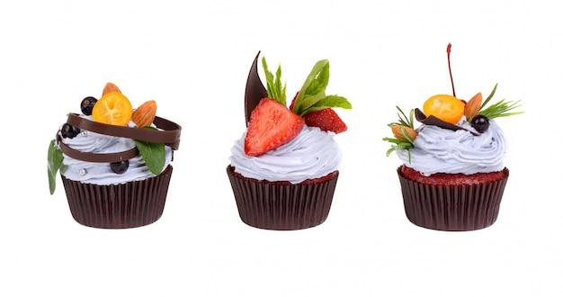 Cream cake with strawberry isolated on white Premium Photo