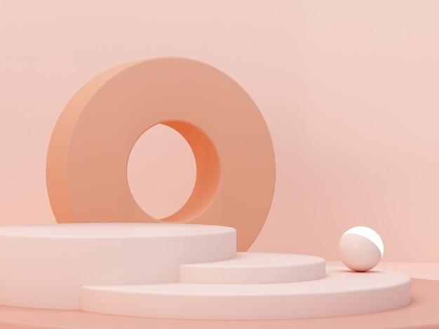パステルカラーの抽象的な背景のクリーム色の図形。最小限のシリンダー表彰台。幾何学的な形のシーン。化粧品のプレゼンテーションのための空のショーケース。ファッション誌。 3 dのレンダリング。 Premium写真