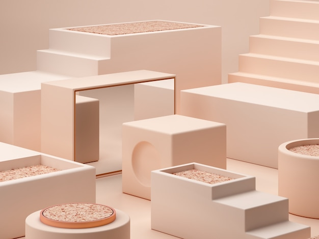 Cream colors shapes on pastel colors abstract background. minimal  boxes podium. Premium Photo