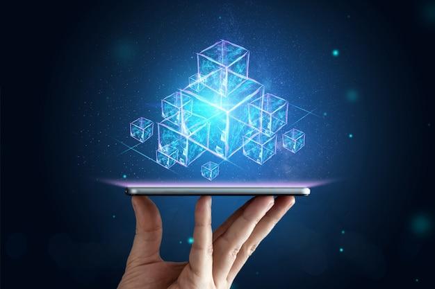 Creative, abstract background, technology blockchain, ultraviolet background Premium Photo