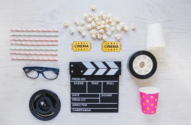 Creative arrangement of cinema accessories Free Photo