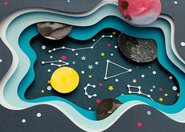 종이 행성의 창의적인 배치 무료 사진