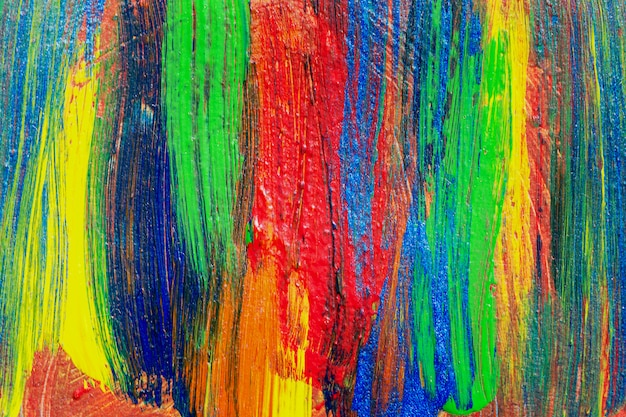 Creative art background hand drawn acrylic painting. closeup shot of brushstrokes colorful texture acrylic paint on canvas. modern contemporary art. abstract composition for design elements. Premium Photo