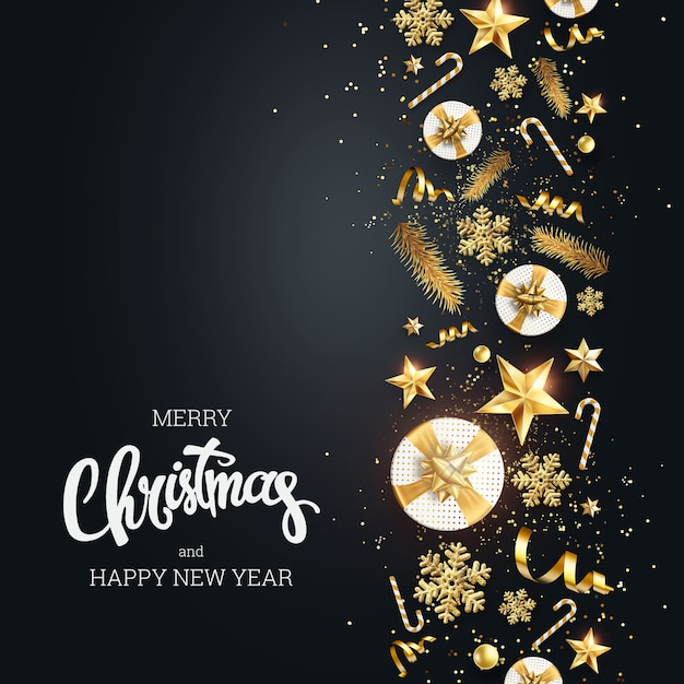 Creative background, christmas decorative border made of festive elements on a light background. Premium Photo