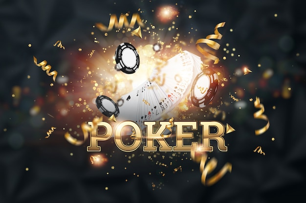 Creative background, the inscription poker, cards, casino chips on a dark background Premium Photo