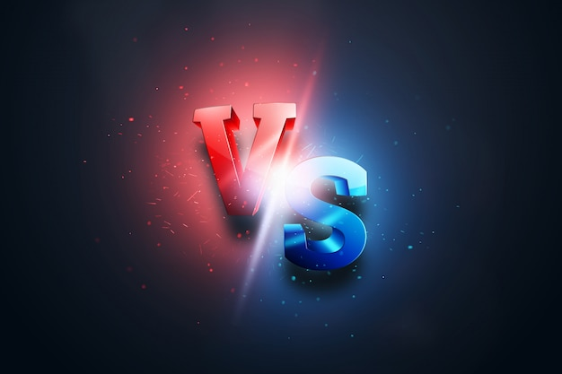 Creative background, red-blue versus logo, letters for sports and wrestling Premium Photo