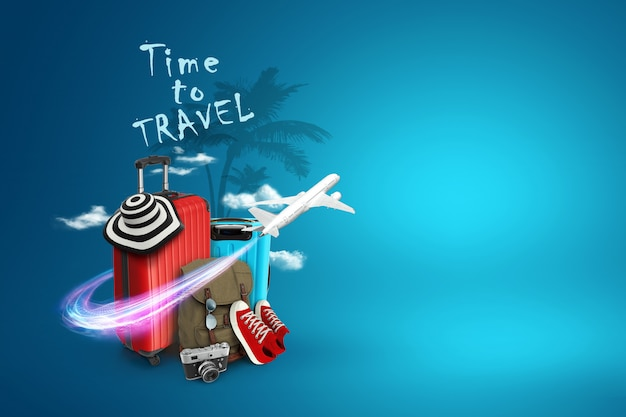 Creative background, red suitcase, the inscription time to travel, sneakers, plane on a blue backgro