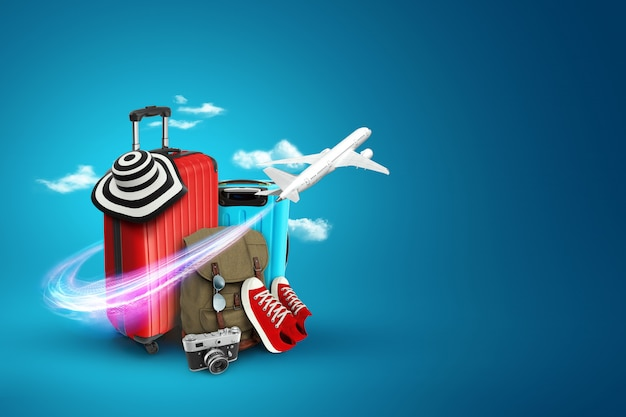 Creative background, red suitcase, sneakers, plane on a blue background. Premium Photo