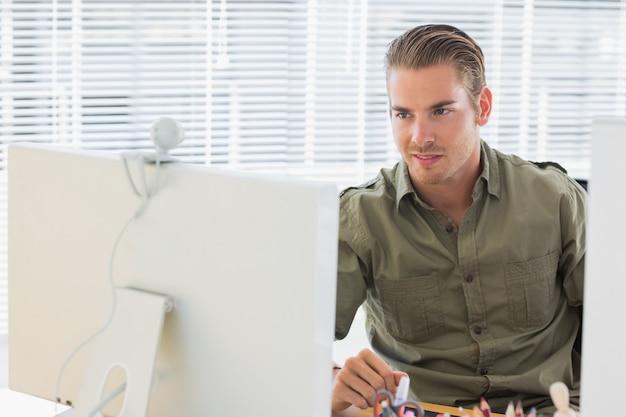 Creative business employee having webcam videocall Premium Photo