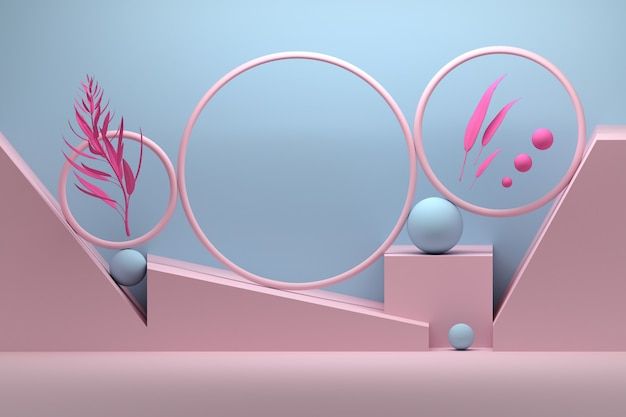 Creative composition with rings, spheres and plant branches Premium Photo
