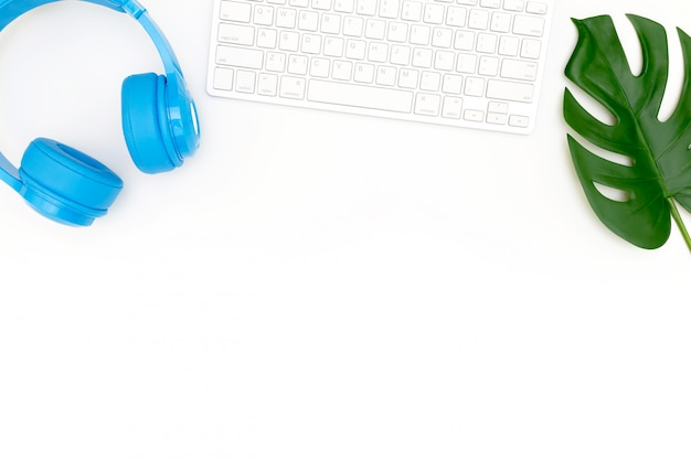 Creative flat lay photo of modern workplace with laptop Premium Photo