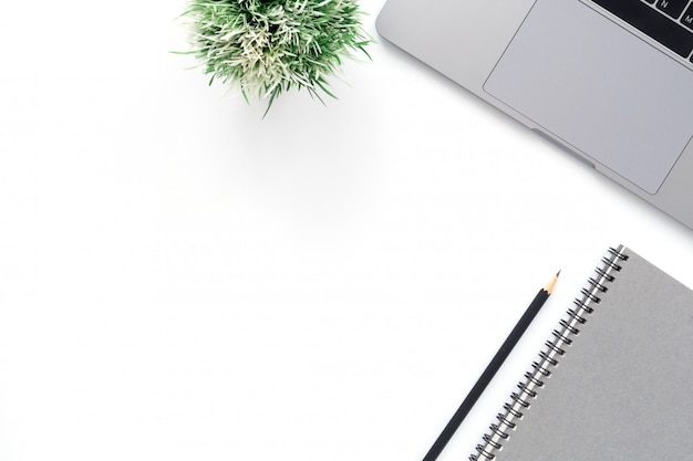 Creative flat lay photo of workspace desk Free Photo