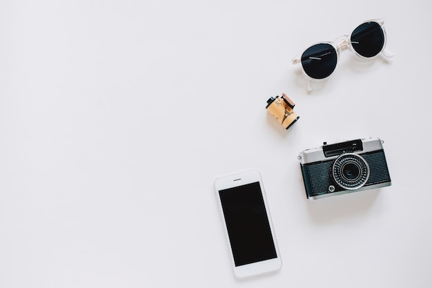 Creative Flat Lay Style With Film Camera Sunglasses And