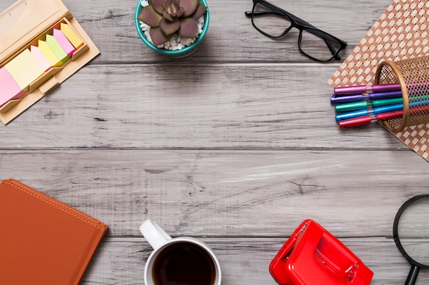 Creative flat lay with office tools Free Photo