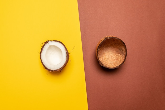 Creative fruit background. layout made of coconut. flat lay, top view, copy space Premium Photo
