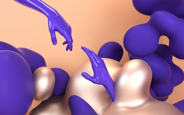 Creative hands 3d illustration abstract liquid colorful shapes. Premium Photo